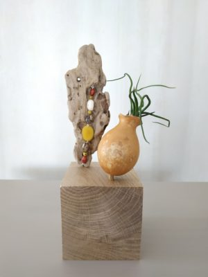 cube décoratif à poser avec dessus le chapeau d'une petite calebasse faisant office d'amphore pour la fille de l'air (tillandsia) dedans. Un morceau de bois flotté est à côté avec des graines qui y pendent